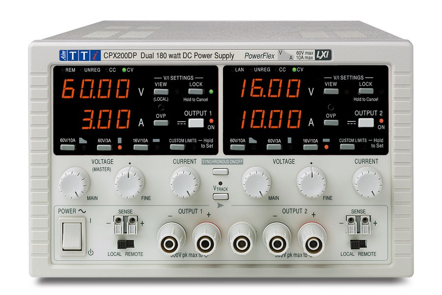 CPX200DP Bench/System DC Power Supply, PowerFlex Regulation, Smart Analog Controls Dual Outputs, 2 x 60V/10A 180W, USB, RS232, LAN & GPIB Interfaces