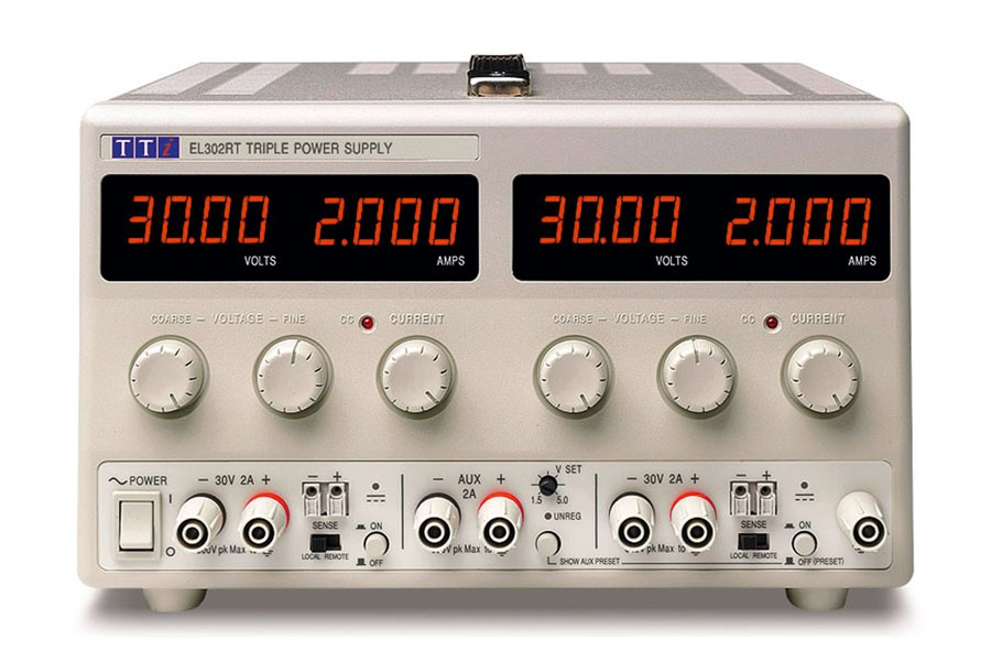 EL302RT Bench DC Power Supply, Linear Regulation, Analog Controls 2 x 30V/2A plus 1.5-5V/2A Triple Output