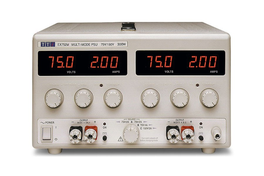 EX752M Bench DC Power Supply, Mixed-mode Regulation, Analog Controls Dual Output 2 x 75V/2A