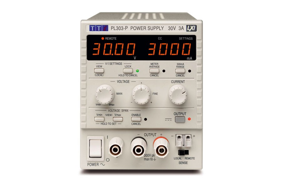 PL303P Bench System DC Power Supply, Linear Regulation, Smart Analog Controls Single Output, 30V/3A, USB, RS232 & LAN Interfaces (GPIB option)