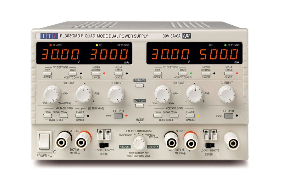 PL303QMDP Bench System DC Power Supply, Linear Regulation, Smart Analog Controls Dual Output, 2 x 30V/3A, USB, RS232 & LAN Interfaces (GPIB optional)