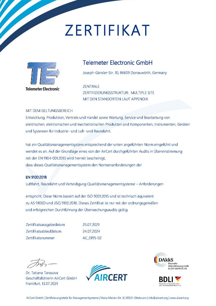 Zertifikat 9100_2018 de Telemeter